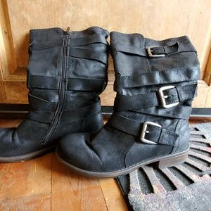 Maurice's black buckle calf boots